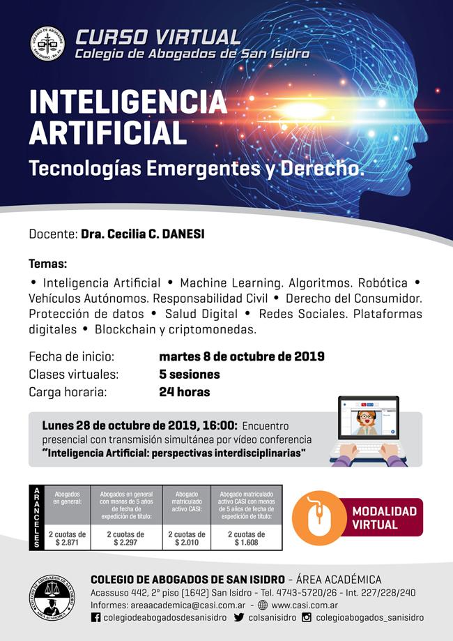 Inteligencia artificial: tecnologías emergentes y derecho. Curso virtual