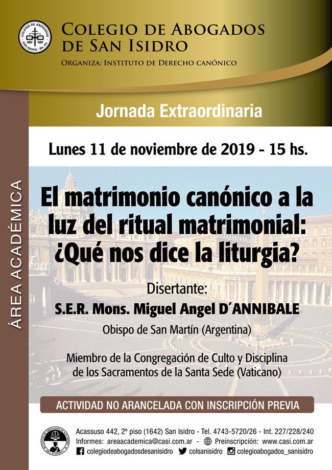 El matrimonio canónico a la luz del ritual matrimonial. Jornada extraordinaria