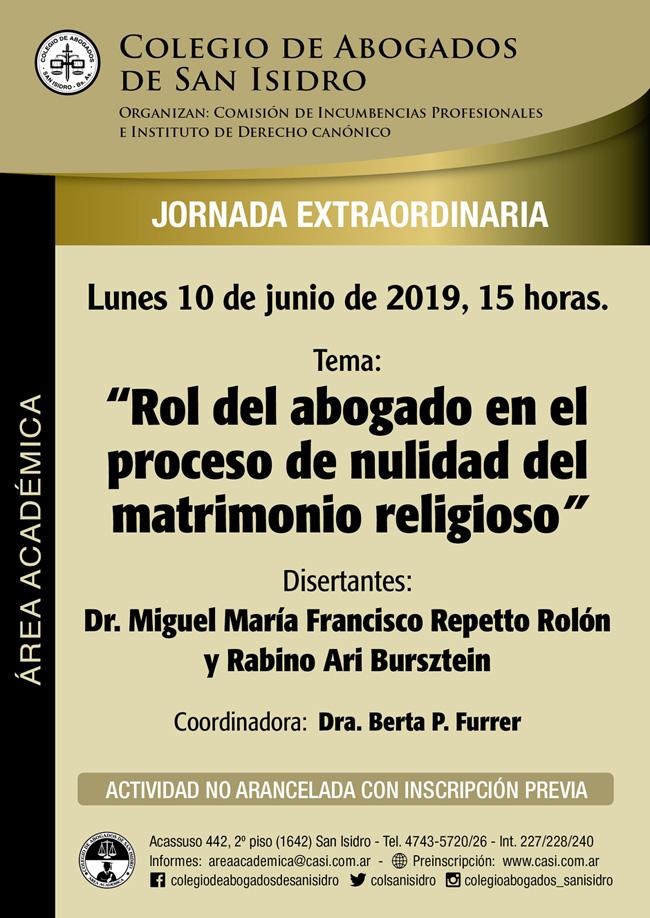 Nulidad matrimonio religioso: rol del abogado. Jornada 10/6/19