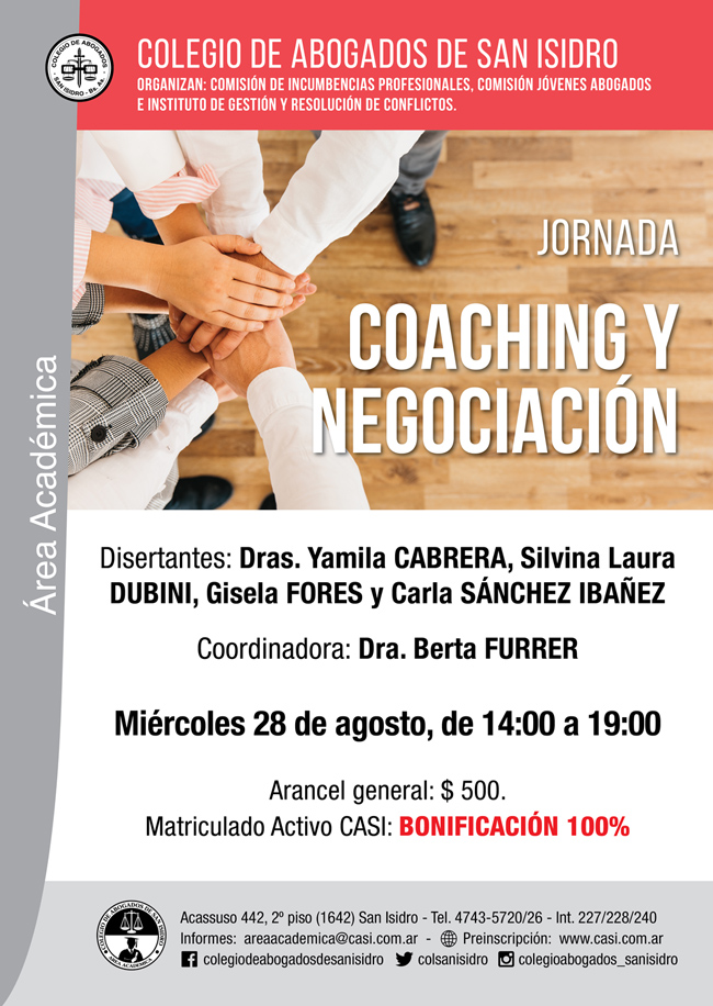 Coaching y negociación. Jornada de actualización 28-8-19