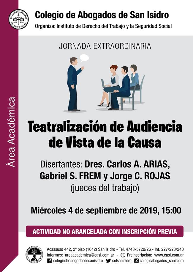 Teatralización de audiencia de vista de causa. Jornada extraordinaria 4/9/19