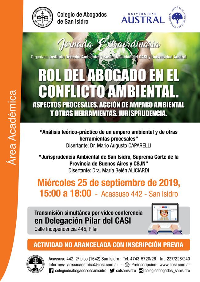 Rol del abogado en el conflicto ambiental. Miércoles 25/9
