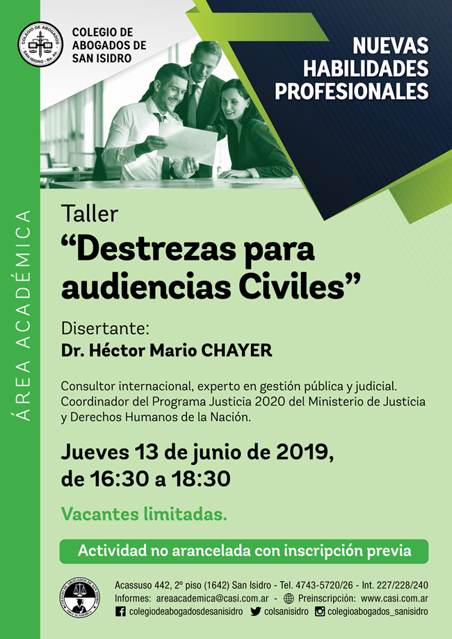 Destrezas para audiencias civiles. Taller