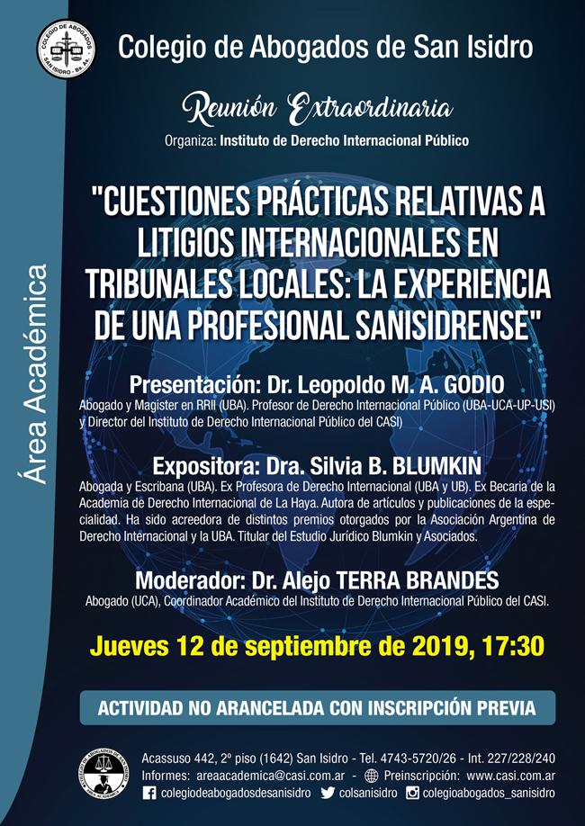 Litigios internacionales en tribunales locales. Reunión extraordinaria 12/9/19