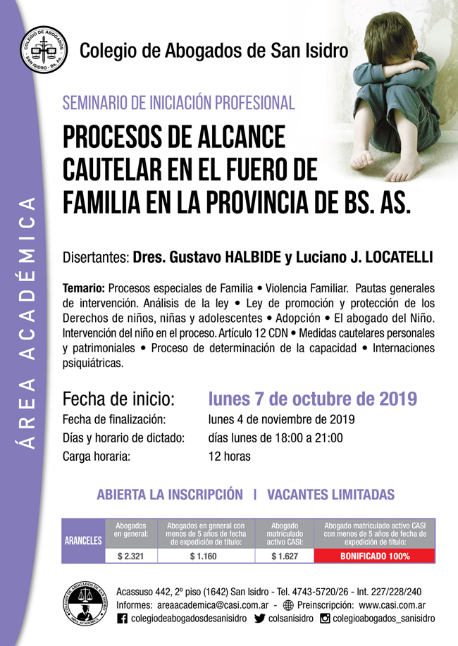 Procesos de alcance cautelar en el Fuero de Familia en la Provincia de Bs. As. Seminario de iniciación