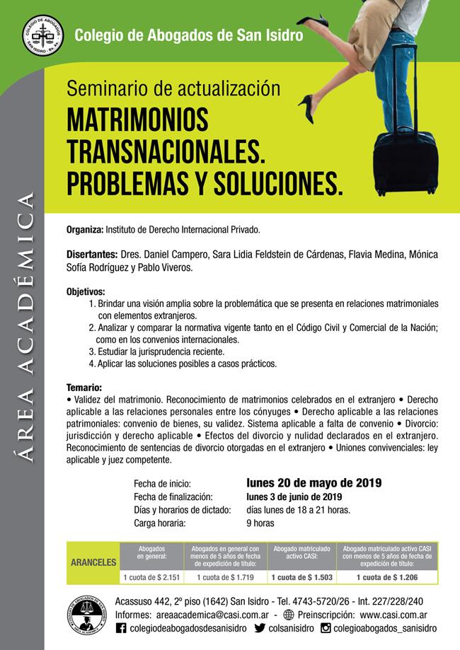 Matrimonios transnacionales. Actualización