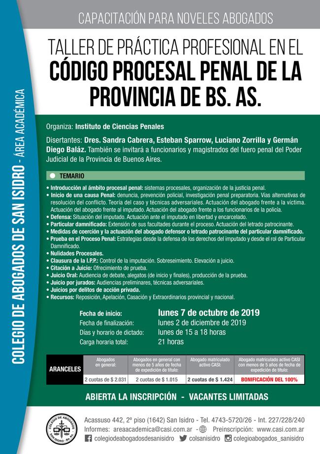 Código Procesal Penal de la Provincia Bs. As. Taller