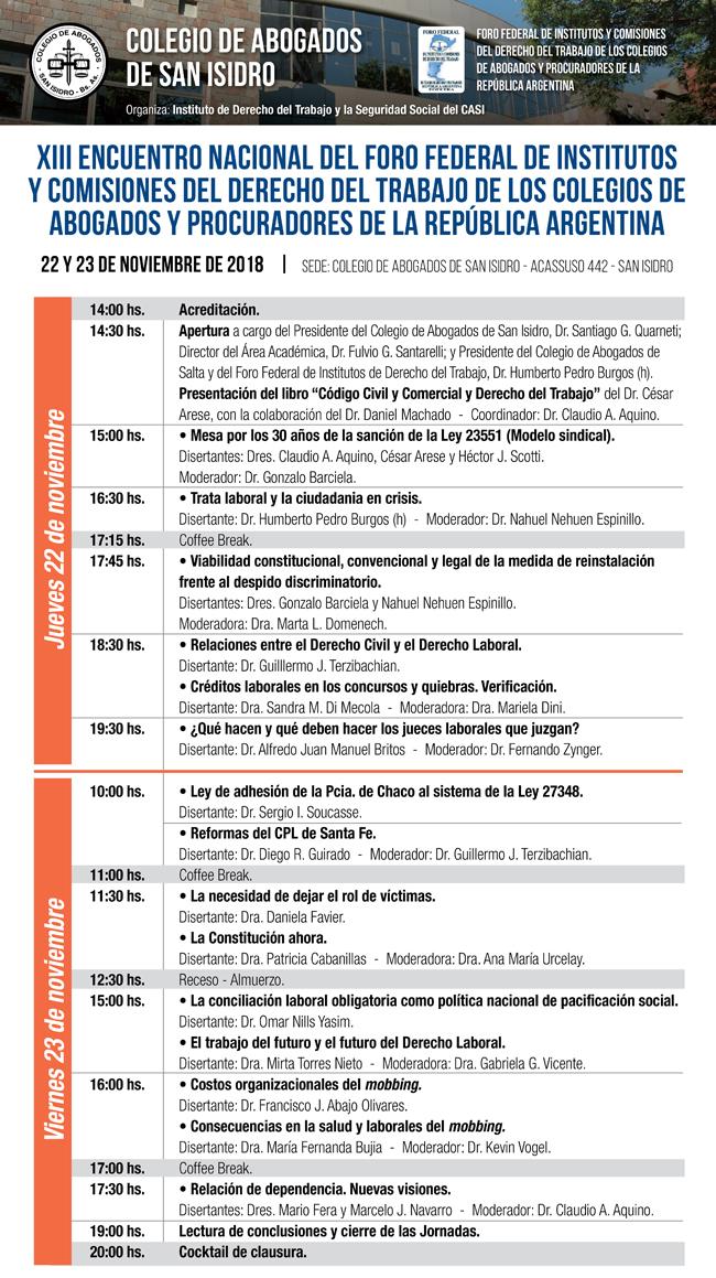 XIII Encuentro Nacional del Foro Federal Derecho Trabajo. 22 y 23/11/18