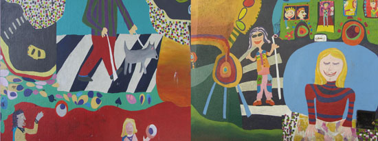 Mural pintado por escolares. Calle Juramento y Ciudad de la Paz. CABA