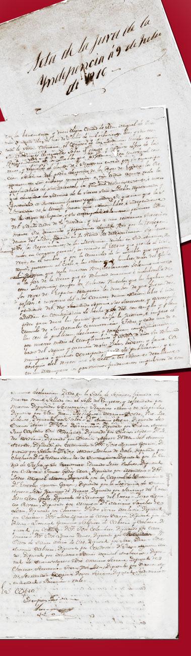 Acta de la jura de la independencia del 9 de julio de 1816. Banco de imágenes del Colegio de Abogados de Sanb Isidro