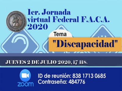 Invitación. Primera Jornada Federal virtual, Discapacidad 2020